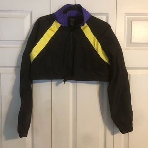 FOREVER 21 Small Black Crop Jacket Purple Yellow